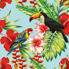 Fototapeta Vintage tropical birds and flowers seamless background