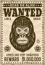Gorilla Head Wanted Poster In Vintage Style
