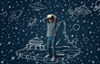 canvas print picture Painted dream about traveling in outer space or cosmos. Little girl or child with virtual reality headset glasses. Concept of cutting edge technology, video games, innovation, childhood, dreams.