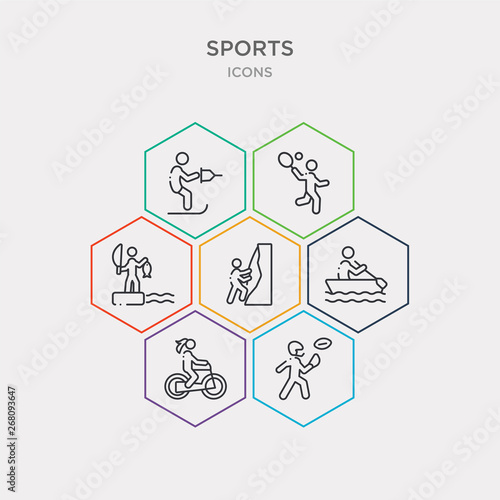 Photo  simple set of american football player catching the ball, bicycle rider, man in canoe, climbing with rope icons, contains such as icons fishing man, badminton racket and feather, water ski and more