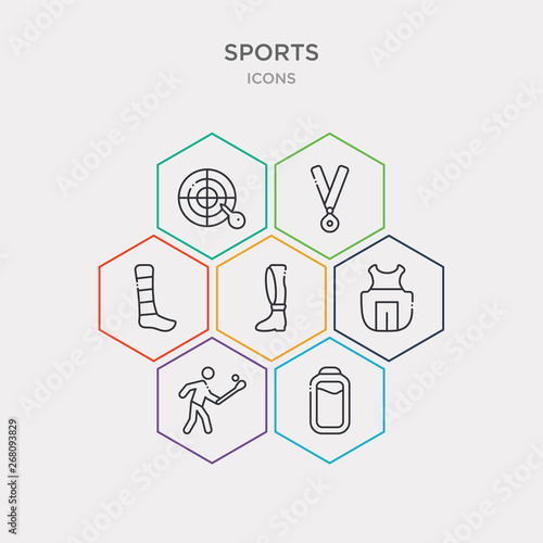 simple set of batter, home run, chest guard, shin guards icons, contains such as icons ankle, golden medal, dartboard with dart and more Canvas Print