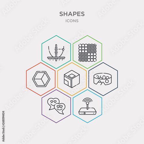 Photo  simple set of favorite wireles conecction, lover, 360, geometry cube icons, contains such as icons poligon, dot square, parabola and more