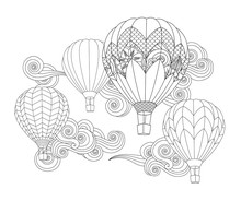 Hot Air Balloons In The Sky. Zentangle Inspired Doodle Style Isolated On White.