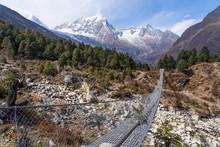 Suspenion Bridge In Manaslu Circuit Trekking Route, Himalayas Mountain Range, Nepal