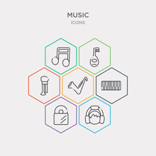 Simple Set Of Boy With Headphones, Long Play Record Cover, Seven Piano Keys, Sax Icons, Contains Such As Icons Bladder Pipe, Lute, Music Note Black And More. 64x64 Pixel Perfect. Infographics Vector