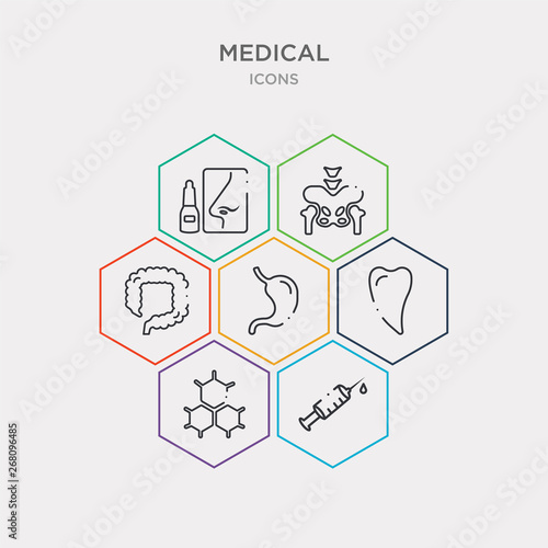 Fotografie, Tablou  simple set of syringe with medicine, three hexagons cell, canine, esophagus icons, contains such as icons colon, pelvis, nasal and more