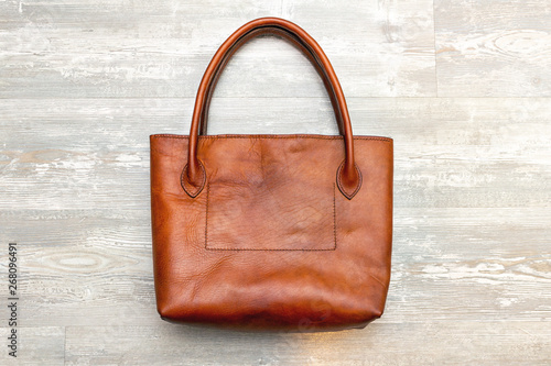 Brown leather handmade tote shopper bag Canvas Print