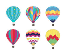 Set Of Hot Air Balloon Isolated On White Background.
