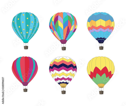 Photo Set of Hot air balloon isolated on white background.