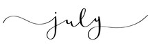JULY Black Brush Calligraphy Banner With Swashes