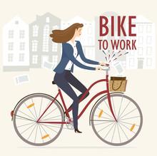 Bike To Work Vector Illustration