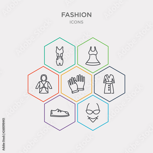 Photo  simple set of lingerine, men shoe, women coat, pair of gloves icons, contains such as icons sweater with hood, women drees, femenine trakcsuit and more