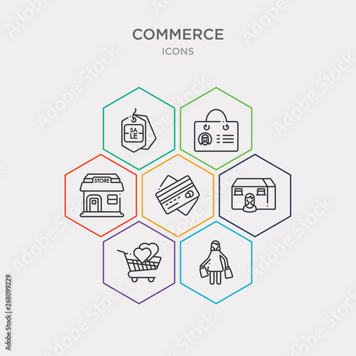 simple set of shopper, solidarity purchase, woman with mortgage, big cit card icons, contains such as icons shop store, bag business card, sale label and more Canvas Print