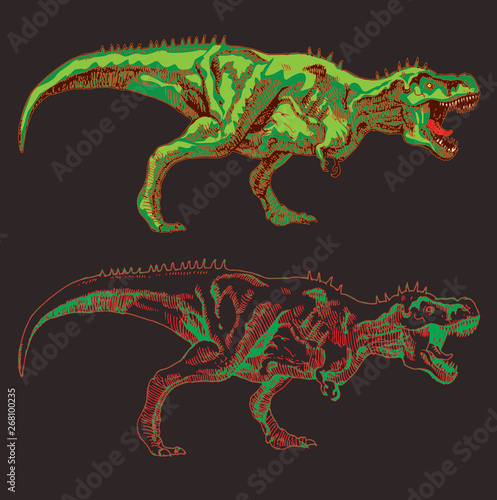 Photo  vector image of a large agressive dinosaur with a ripped mouth in the style of