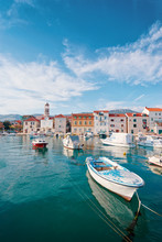 Kastel Coast In Dalmatia,Croatia. A Famous Tourist Destination On The Adriatic Sea. Fishing Boats Moored In Old Town Harbor.