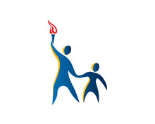 Modern Teacher And Student Holding Torch Education Logo In Isolated White Background