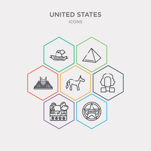 Simple Set Of Sheriff, 4th Of July, Washington, Donkey Icons, Contains Such As Icons Golden Gate, Pyramid, Usa And More. 64x64 Pixel Perfect. Infographics Vector