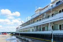 "Kremenchug, Ukraine - May, 5, 2019. ""Viking Sineus"" - A Four-deck Passenger Riverboat Stopped In The City Of Kremenchug On The Dnieper River."