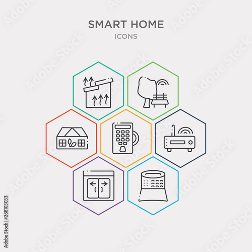 simple set of alarm system, automated door, cd player, door key icons, contains such as icons eco friendly, environmental, heat leak and more Tableau sur Toile