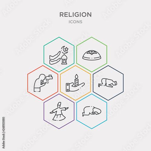 Fotografie, Tablou  simple set of subah prayer, sufi mystic, sujud posture, vigil icons, contains such as icons wudu, yarmulke, zuhr prayer and more