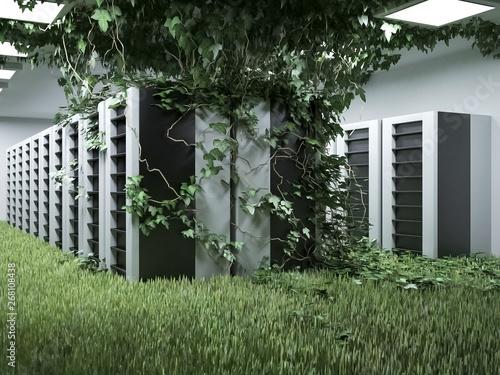 Cuadros en Lienzo Green data center • Green energy data servers