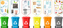 Trash Cans With Sorted Garbage Set. Different Types Of Waste: Organic, Plastic, Metal, Paper, Glass, E-waste. Color Poster Waste Management. Concept Of Recycles Day And Ecology Segregate Waste.