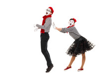 Surprised Mimes In Striped Shirts. Man And Woman Dressed As Actors Of Pantomime Theater Isolated On White Background