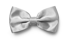 Silver Color Bow Tie Isolated On White Background With Clipping Path