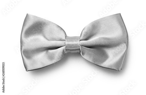 Stampa su Tela Silver color bow tie isolated on white background with clipping path