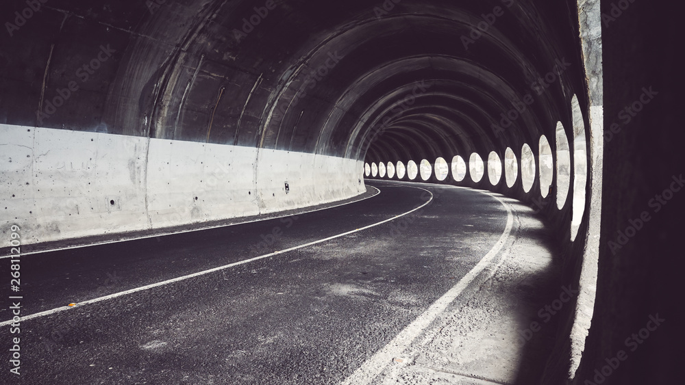 Fototapety, obrazy: Tunnel with natural light, color toning applied, Puerto de la Cruz, Tenerife, Spain.