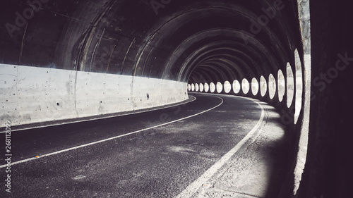 obraz lub plakat Tunnel with natural light, color toning applied, Puerto de la Cruz, Tenerife, Spain.