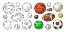 Set Sport Balls Icons. Engravi...