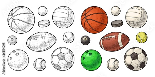 Canvas-taulu Set sport balls icons