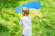Leinwanddruck Bild - Child carries fluttering blue and yellow flag of Ukraine in field. Ukraine's Independence Day. Flag Day. Constitution day. Girl in traditional embroidery with flag of Ukraine.