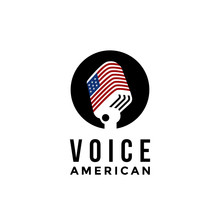 American Voice Microphone Logo Icon Vector Template On White Background,  United States Of America Flag Logo Vector