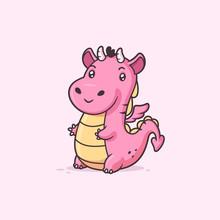 Cute Kawaii Baby Dragon Vector Cartoon Illustration