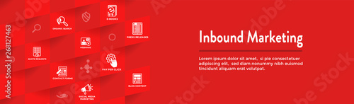 Photo  Digital Inbound Marketing Web Banner with Vector Icons with CTA, Growth, SEO, et