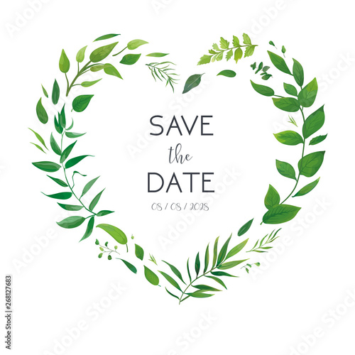Cuadros en Lienzo Wedding floral invite, invitation card, save the date design