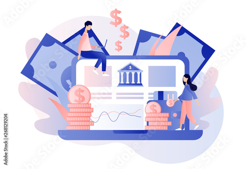Online banking. Flat cartoon style. Vector illustration Tableau sur Toile
