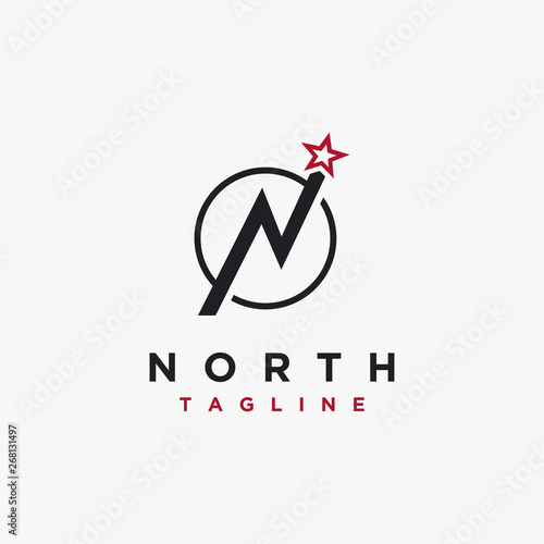 Fotografija Letter N for north and star logo icon vector template on white background