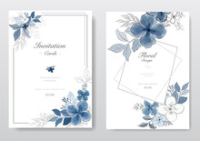 Set Of Blue Watercolor Florals Card