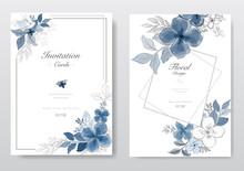 Set Of Blue Watercolor Florals Card