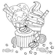 Coloring Page With Cake, Cupca...