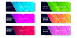 6 Set of Abstract geometric business banner template with vibrant dynamic color gradation in blue, purple, red, orange and green
