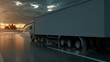 Truck speeding on the highway, side view. Transportation, shipping industry concept. 3D illustration