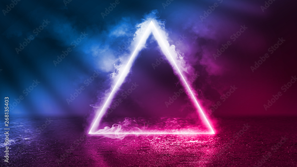 Fototapety, obrazy: Background of an empty disco scene. Neon figure of a fractal triangle in the center of the scene. Neon light smoke. Dark abstract futuristic background