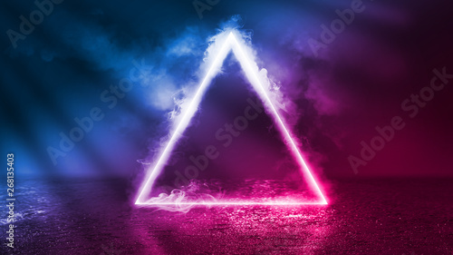 Background of an empty disco scene. Neon figure of a fractal triangle in the center of the scene. Neon light smoke. Dark abstract futuristic background