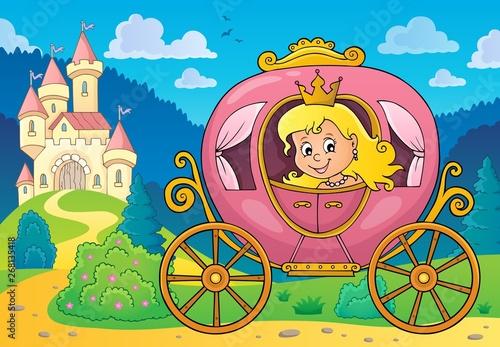 Fotobehang Voor kinderen Princess in carriage theme image 2