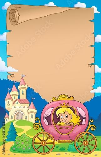 Stickers pour porte Enfants Princess in carriage theme parchment 1
