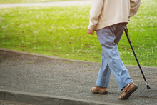 Elderly Old Man With Walking S...